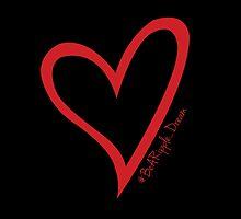 #BeARipple...Dream. Red Heart on Black by BeARipple