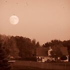 Moon Over an Iowa Farmhouse by Beckluv