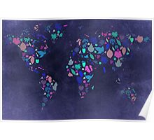 World Map Colourful Leaves Blueprint  Poster