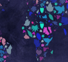 World Map Colourful Leaves Blueprint  Sticker