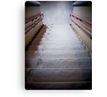 Steps Covered With Snow and Footprints at Night Canvas Print