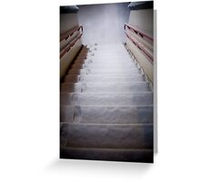 Steps Covered With Snow and Footprints at Night Greeting Card