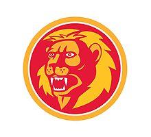 Angry Lion Head Roar Circle Retro by patrimonio