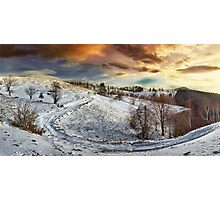 Countryside road at sunset, winter Photographic Print