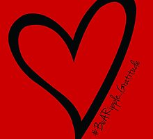 #BeARipple...Gratitude Black Heart on Red by BeARipple