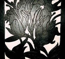Black Lilies (Painted Wood Carving)- by Robert Dye