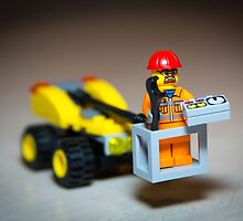 Lego Worker on Lift Construction by garykaz
