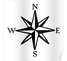 Compass Rose (monochrome) Poster
