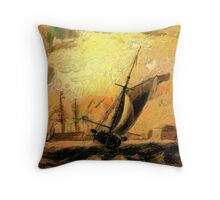 Portsmouth Harbour circa early 19th century and a Melee of Coal and Wind Driven Ships Throw Pillow