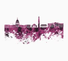 Washington DC skyline in pink watercolor on white background  Kids Clothes