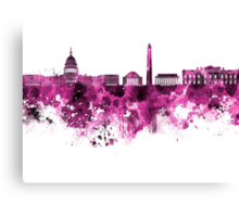 Washington DC skyline in pink watercolor on white background  Canvas Print