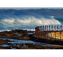 Waves over the Canoe Pool - Newcastle Beach NSW Photographic Print