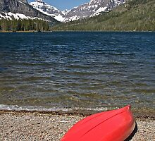 Boat at Two Medicine Lake, Glacier National Park by Gary Lengyel