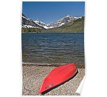 Boat at Two Medicine Lake, Glacier National Park Poster
