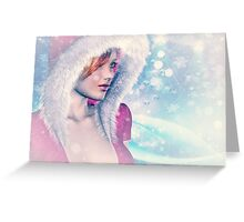 Woman in pink winter cloth 2 Greeting Card