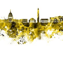 Washington DC skyline in yellowe watercolor on white background  by paulrommer