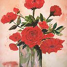 Rose Flowers in Vase by  Linda Callaghan