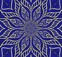 Abstract Flower on Blue Background by Lena127