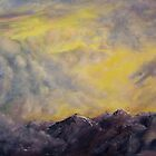 Mountain Landscape with Yellow Sky and Clouds by Lenora