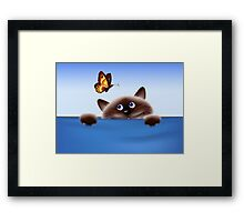 Cat & Butterfly Framed Print