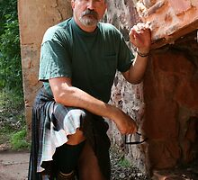 Jake in Kilt; A reluctant Husband Poses. by L Hartley