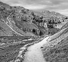 The Approach to Malham Cove in Black and White by Colin Metcalf