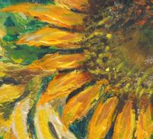 Sunflower Study (acrylic) Sticker