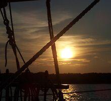Sunset through Boat Rigging by B. Brannen