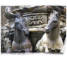 Marble Sea-horses - Fountain of Neptune, Florence Poster