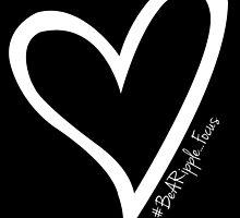 #BeARipple...FOCUS White Heart on Black by BeARipple