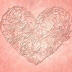 Hearts & flowers in pink by Celeste Mookherjee