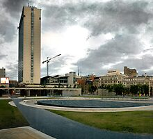 Piccadilly Gardens Panoramic HDR with a Grey Sky, Manchester City Centre, Manchester, UK by Rob Davies