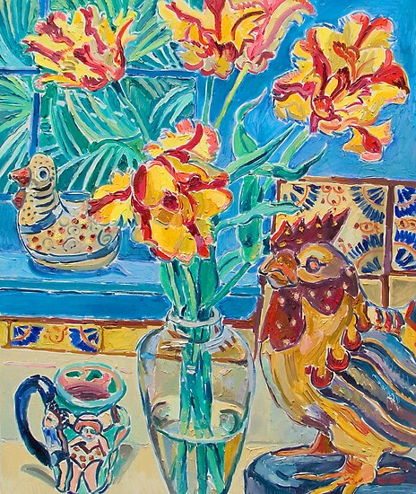 Still life with rooster and tulips by Vitali Komarov