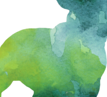 Green and blue abstract french bulldog watercolor painting Sticker