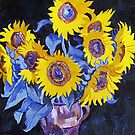 Nine sunflowers with black background by Vitali Komarov