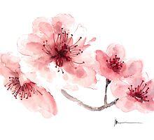 Cherry blossom fragrance watercolor art print painting by Joanna Szmerdt