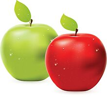 Green apple and red apple by AnnArtshock