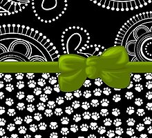 Ribbon, Bow, Dog Paws, Circles - White Black Green by sitnica