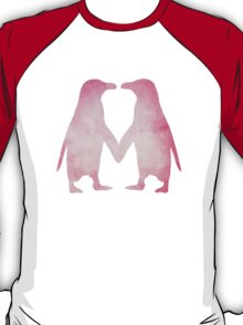 Cute pink watercolor penguins holding hands T-Shirt