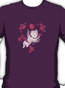 Vintage Pink Valentine Angels with Roses.  T-Shirt