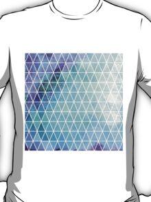 Blue Grungy Geometric Triangle Design T-Shirt