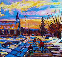 CANADIAN LANDSCAPE PAINTINGS HOCKEY PRACTICE ON THE COUNTRY ROAD BY CANADIAN ARTIST CAROLE SPANDAU by Carole  Spandau
