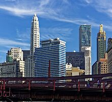 Chicago river cruise view towards  Dearborn Street Bridge by atomov