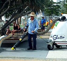 Man at work, Surfers Paradise, Qld, Australia by Sandra  Sengstock-Miller