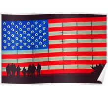 Neon American Flag with Silhouetted Family Poster