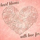 Hearts & flowers blooming love by Celeste Mookherjee