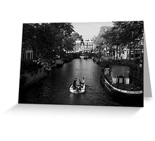 Boating On The Canals Of Amsterdam Greeting Card