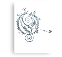 ANTIQUE FILIGREE LETTER OPETH - Grey Daisies Canvas Print