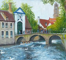 Canal cruise on Minnewater in Bruges/Brugge, Belgium by Dai Wynn