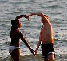 Black and white human arms shape heart by Jory33